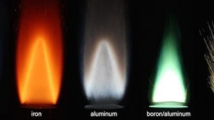 Stabilized flames of different metal powders burn with air, compared to a methane-air flame. (Photo credit: Alternative Fuels Laboratory/McGill University)