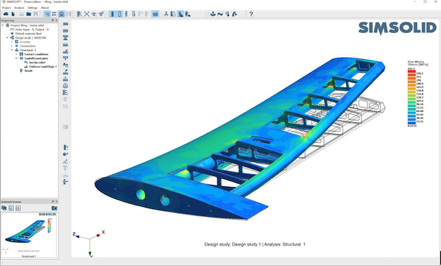 Using SIMSOLID Power edition's Inertia Relief function, users can analyze a structure that is not constrained and can move as a rigid body, such as this airplane wing.