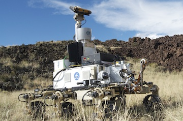 Originally designed for the ExoMars mission, MacDonald Dettwiler's REX Mars rover features a unique drive system that allows it to traverse steep slopes and uneven terrain.