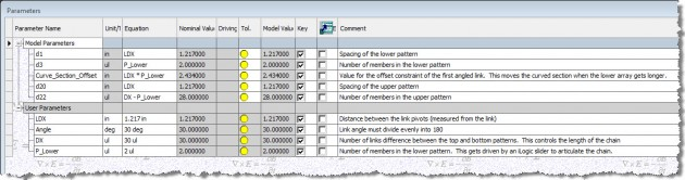 Figure 3: The parameters dialog box for the energy chain assembly, filtered to show only the key parameters.