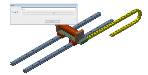 Figure 6: Driving the carriage in the top level assembly.  The energy chain subassembly will follow as the carriage moves.