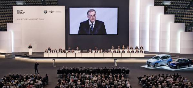 Dr. Norbert Reithofer speaking at the 95th Annual General Meeting of BMW AG at Olympiahalle Munich. (Photo credit: BMW Group)