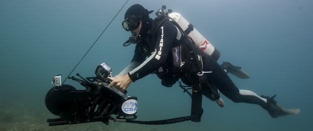 Shark Marine's Navigator system helps military and rescue divers navigate and sonar scan their surroundings in dark and turbid waters.