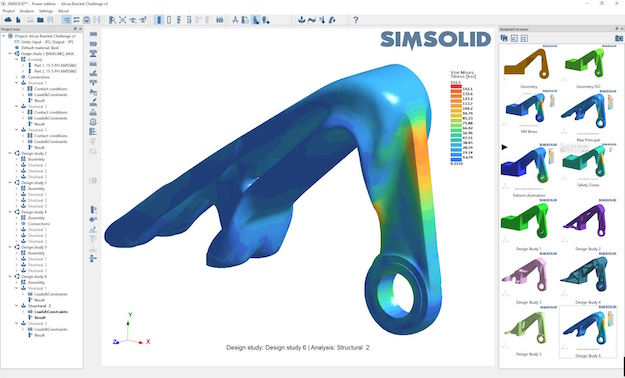SIMSOLID projects can contain multiple design studies, one of which acts as the baseline. Importing modifications to a part or assembly creates new comparative studies, to which existing baseline material property, connection and analysis definition data are applied.